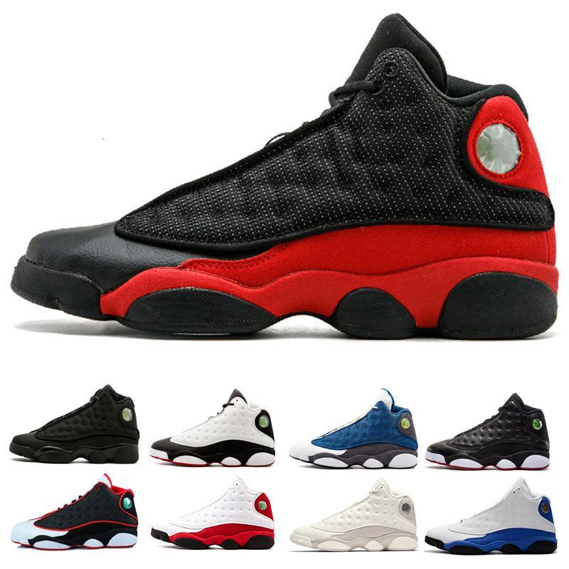 13 У него есть игра Мужская Обувь на открытом воздухе Призрак Черный кот Чикаго разводил Hyper Royal Italy Blue Playffs Высота спортивные кроссовки 41-47