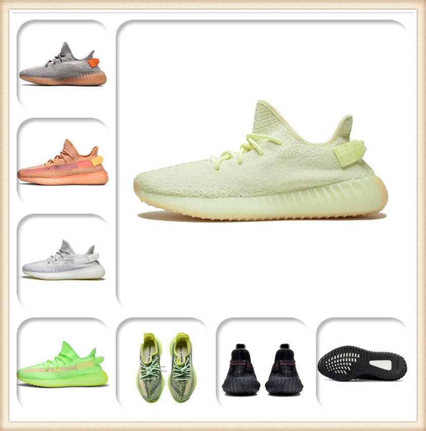Mens Womens Sportschuhe 2021 Kanye West Ash-Perle Schuhe Top Qualität Marke Licht Reflektierende Lässige Sport Turnschuhe Reiten Schuhgröße 36-48