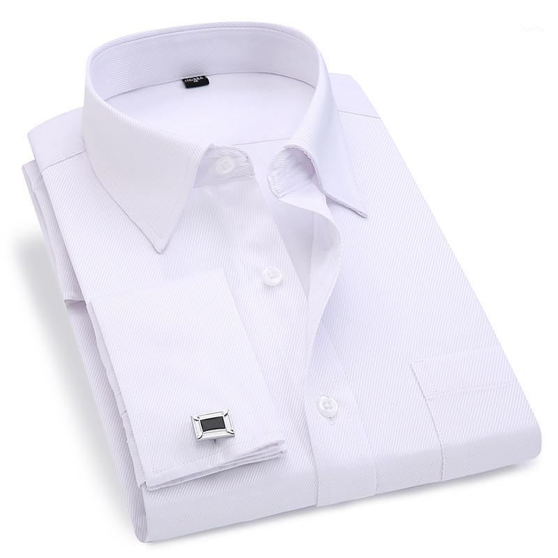 Erkekler Fransız Kol Düğmeleri Gömlek 2020 Yeni erkek Çizgili Gömlek Uzun Kollu Rahat Erkek Marka Gömlek Slim Fit Fransız Manşet Elbise Gömlek1