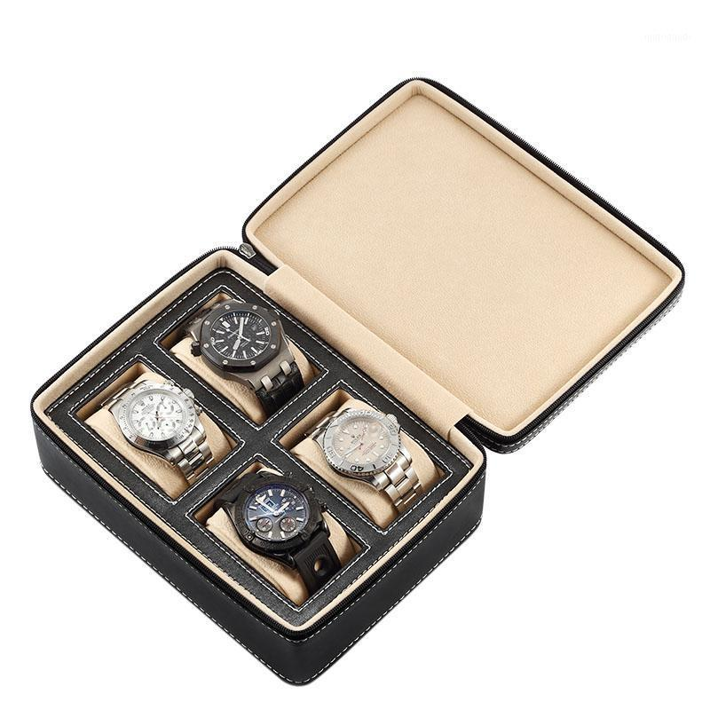 Watch Boxes & Cases 4 Slots Leather Box Jewelry Bracelet Necklace Storage Organizer With Zipper Classic Multi-functional Display Case1