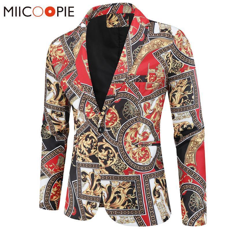 Trajes de boda para el banquete de Steampunk para hombre de los hombres del estilo 2020 de lujo real de impresión Slim Fit Blazer Hombre de Corea del vestido de chaqueta de la chaqueta M-4XL
