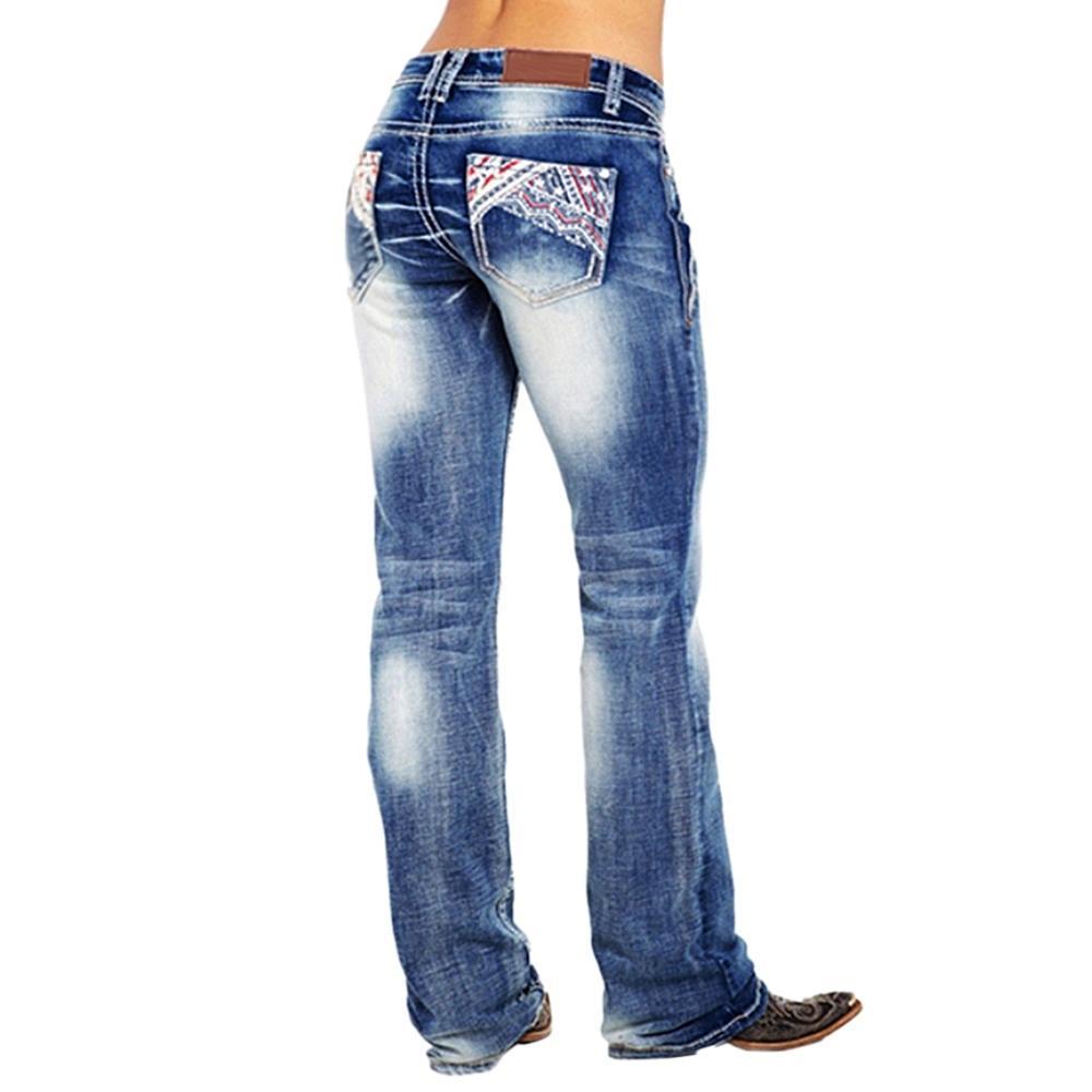 Laamei Kadınlar İşlemeli Jeans Cep Baskı Pantolon Kadın İnce Denim Düz Pantolon Casual Uzun Kot Pantalon Femme A1112