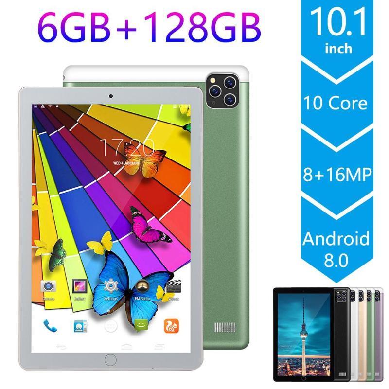 2021 Nueva 10.1 pulgadas Tablet PC Android 9.0 OS Octa Core Dual SIM 4G phablet 2.5D tableta de 6 GB de RAM 128 GB ROM Bluetooth Wifi Pc