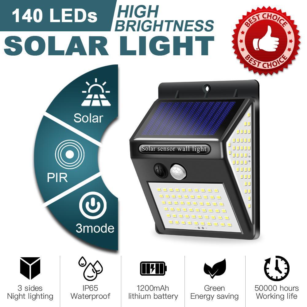 140 LED luz solar ao ar livre lâmpada solar PIR Sensor de movimento solar solar luz solar luz de rua para decoração de jardim