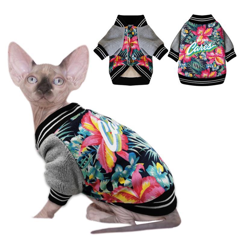 Outono / inverno animal de estimação gato roupas engrossar quente algodão cachorro animal de estimação gato casaco casacos trajes impresso roupas para pequenos gatos cães sphynx 201111