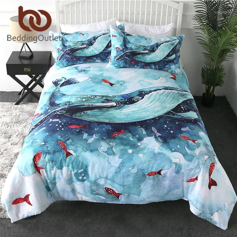 Baleine de baleine literie ensemble aquarelle couverture de couette animal aquarelle ensemble bleu et blanc textile textile poisson rouge océan marin lit