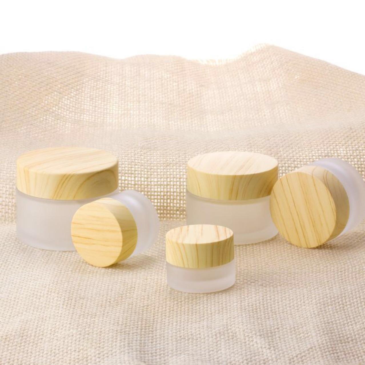 Frosted Glass Jar Cream Butelki Okrągłe Słoiki Kosmetyczne Ręcznie Twarz Pakowanie Butelki 5G 10G 15g 30g Słoiki 50g z pokrywą ziarna drewna w plastiku