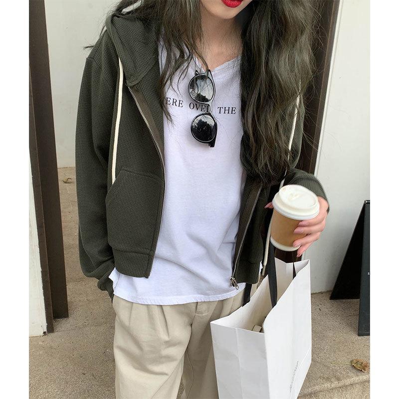 3 colores 2020 estilo de muy buen gusto de Corea mujeres del otoño con capucha abrigos chaqueta de la cremallera ocasional de la ropa femenina para mujer abrigo corto (X1625) c1015