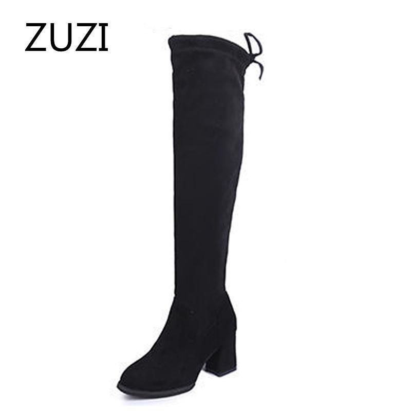 stivali sopra il ginocchio del Zuzi donne autunno / inverno 2020 dimagranti stivali elasticizzati lacci tacco alto alto spessore con tacco