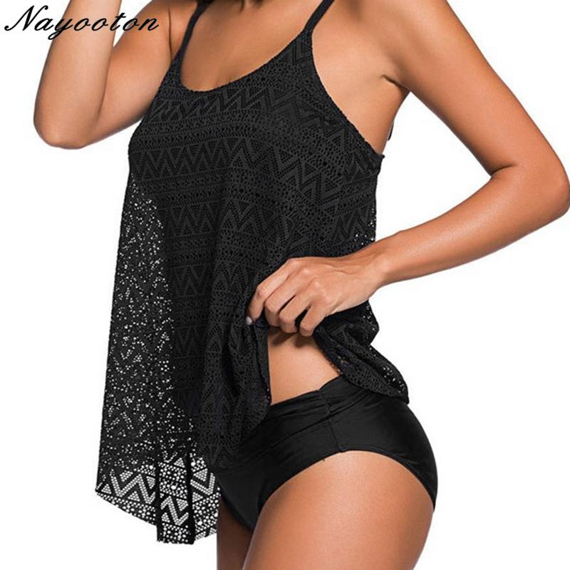 Tankini Plus Size Tummy Swimwear Swimwear Donne Control Commutazione Nero Costumi da bagno Tank Top Retro Solido Costume da bagno con pantaloncini Due pezzi Costume da bagno