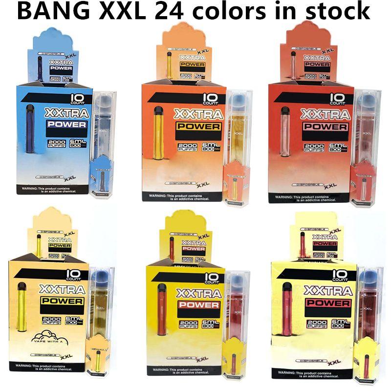Bang XXL Tek Kullanımlık Vapes Sigaralar Kalem Cihazı 800 mAh Batterys 6 ml Pods Önceden doldurulmuş buharlar 2000 Puffs XXTRA VAOE Seti vs Puff Bar Max