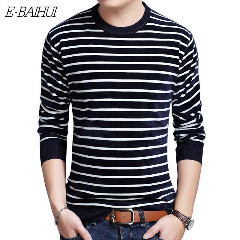 E-Baihui 2020 Winter Новый свитер Повседневная Мужская Тонкий Плюс бархатной Толстые Полосатый Вязаная основывая рубашку