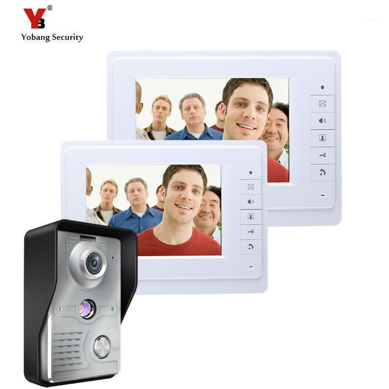 Yobang Security 7-Zoll-Video-Türsprechanlage Intercom-Türglockensystem mit IR-Kamera-Hände-freies Zwei-Monitor-Video Bell1