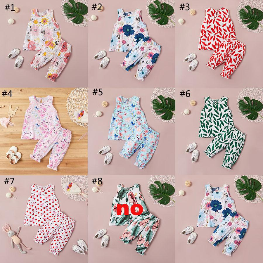 2020 Summer New Baby Girls Floral Clothing Set Sleeveless Vest Flower Print Top + Long Pants 2pcs/set Boutique Children Casual Outfits M1870