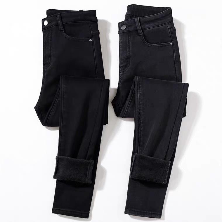 Корейский черный тонкий кашемир высокой талии джинсы женские леггинсы осень зима жесткие упругие 8-точечные карандаш плюшевые брюки