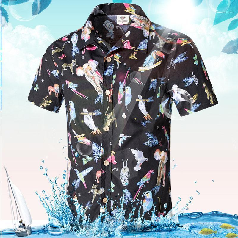 Camisas casuales para hombre Camisa de manga corta para hombre Playa de mar Hawaiian Camisa Masculina Verano Hombres Ropa Tamaño asiático 5xl1