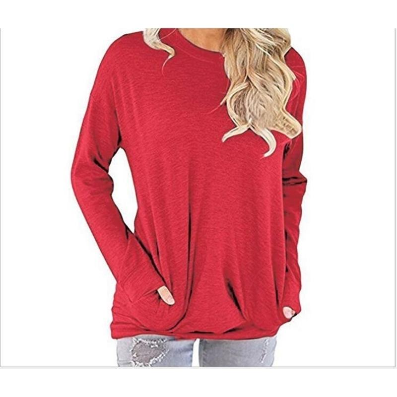 Otoño e invierno Nueva camiseta de bolsillo de manga larga europea y americana 201023
