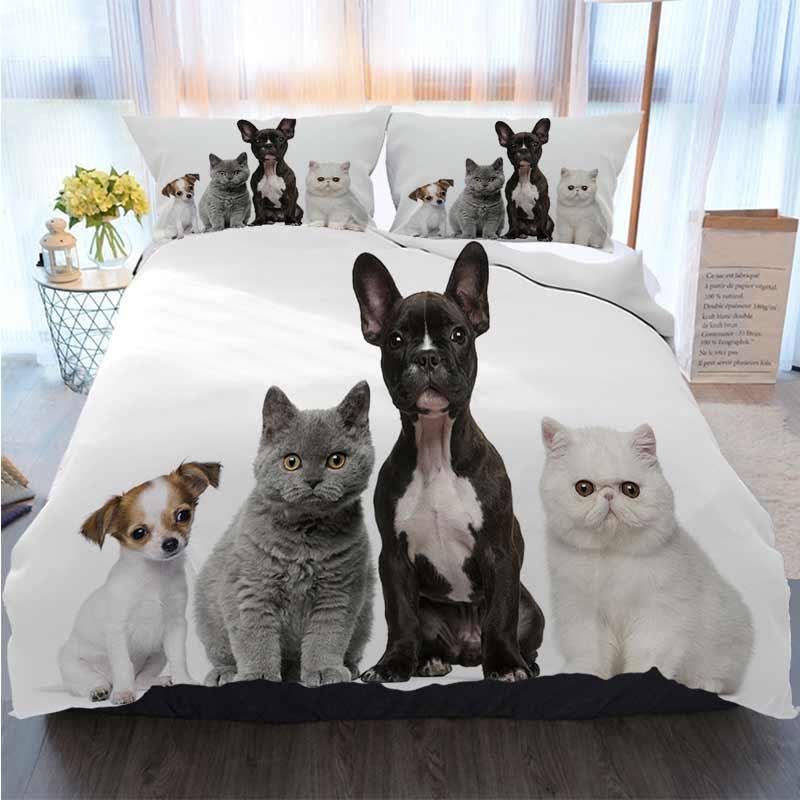 Cama 3 peça edredon cobrir Define grupo de fundo de cães e gatos branco de assento Sets Quilt cama Consolador de cama
