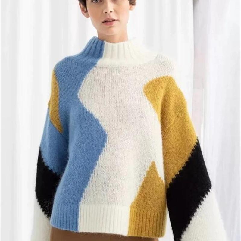 Mulheres Sweater Outono Inverno Nova Lã Mistura Contraste Wide Sleeve Sweater 201017