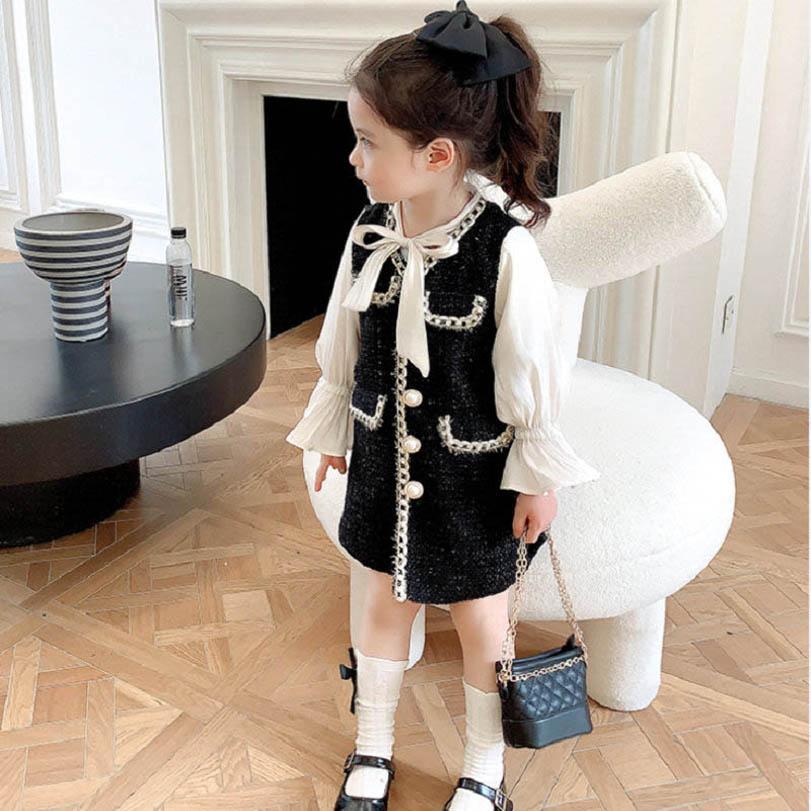 패션 여자 드레스 진주 긴 소매 키즈 공주 의류 의류 봄 가을 착용 B2156