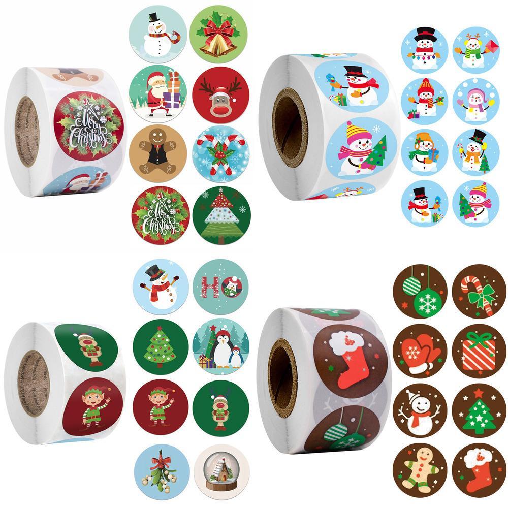 Allegre 500pcs regalo Adesivi Albero Elk Candy Bag di tenuta Sticker Natale Box Labels decorazioni di Capodanno C7oa