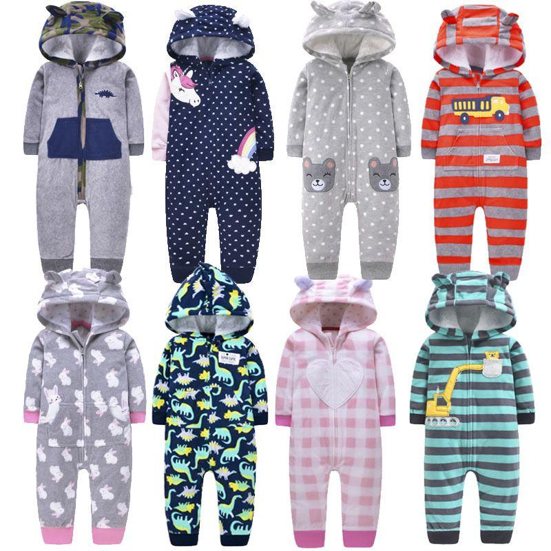 2020 Romper Toison capuche Zipper Hiver chaud Automne Jumpsuit enfant en bas âge Outwear Automne Vêtements de bébé Noël