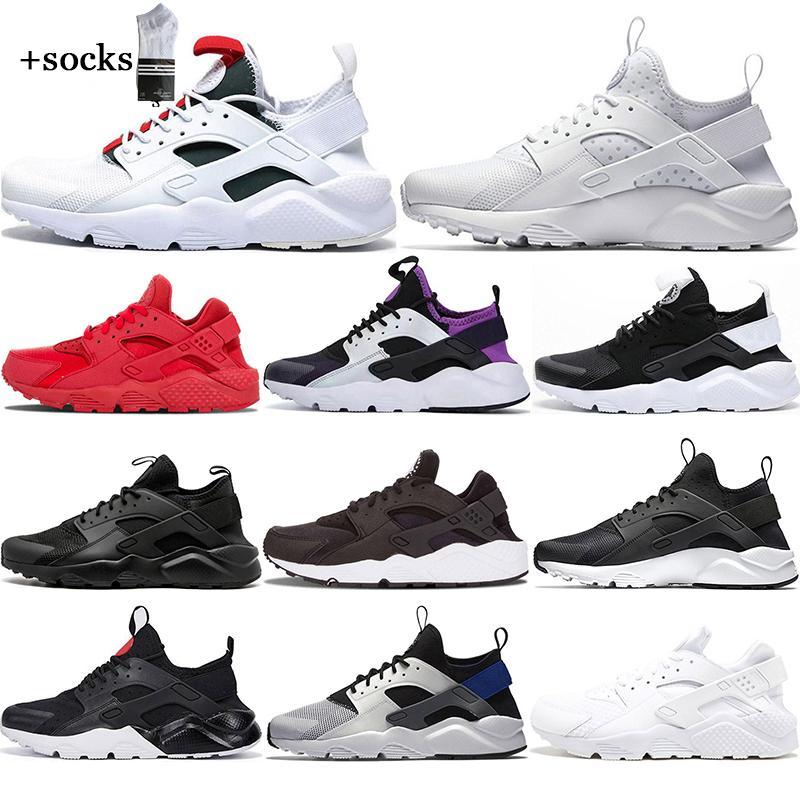 مع الجوارب الحرة 2021 الأبيض نقطة ايس huarache 4.0 الرابع الاحذية الثلاثي الأسود الرجال النساء huaraches الرياضة أحذية رياضية 36-45