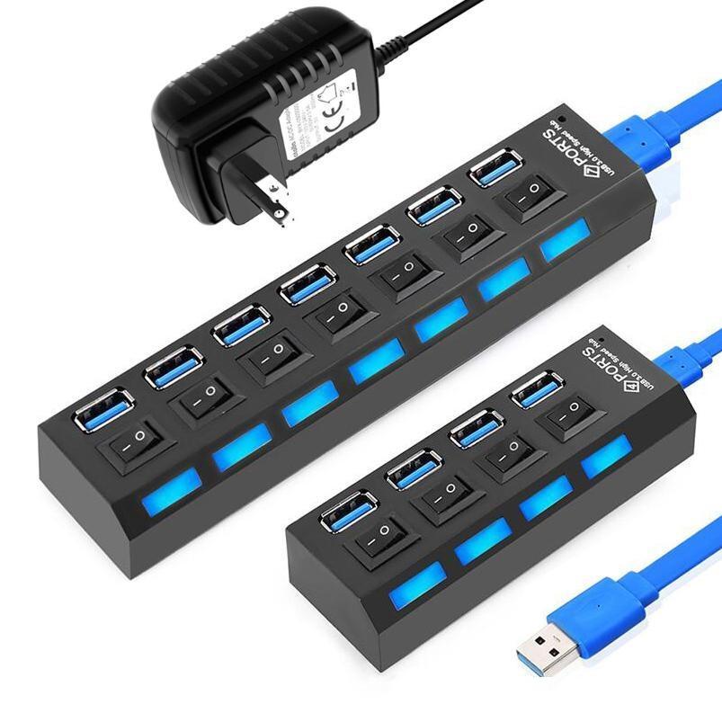 USB 3.0 HUB USB múltiple divisor 4/7 de expansión del puerto USB Multi Hab con interruptor Adaptador de corriente de alta velocidad del EJE 3.0 para PC