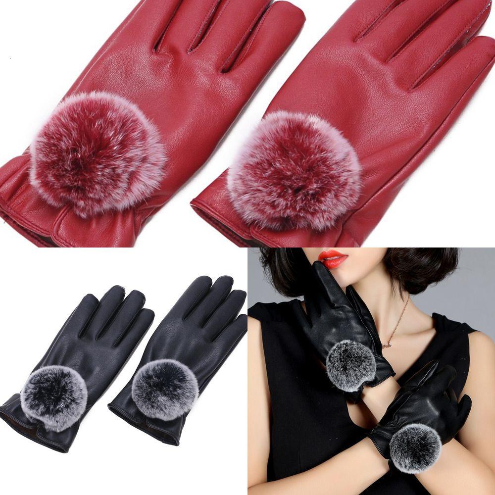 Warm Winter Mitten Women Pu Leather Rabbit Fur Balls Female Causal Wrist Soft Covered Finger Velvet Fitness Gloves PSSW