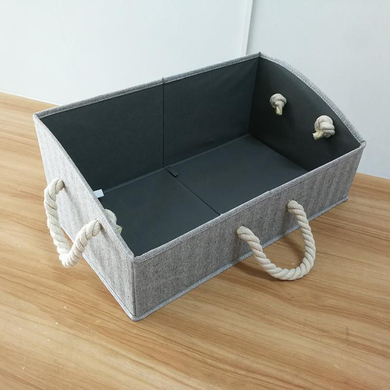 Gris Grand Bacs de rangement pliable en tissu Trapèze Boîtes Organisateur avec poignée de corde coton, Pliable Panier