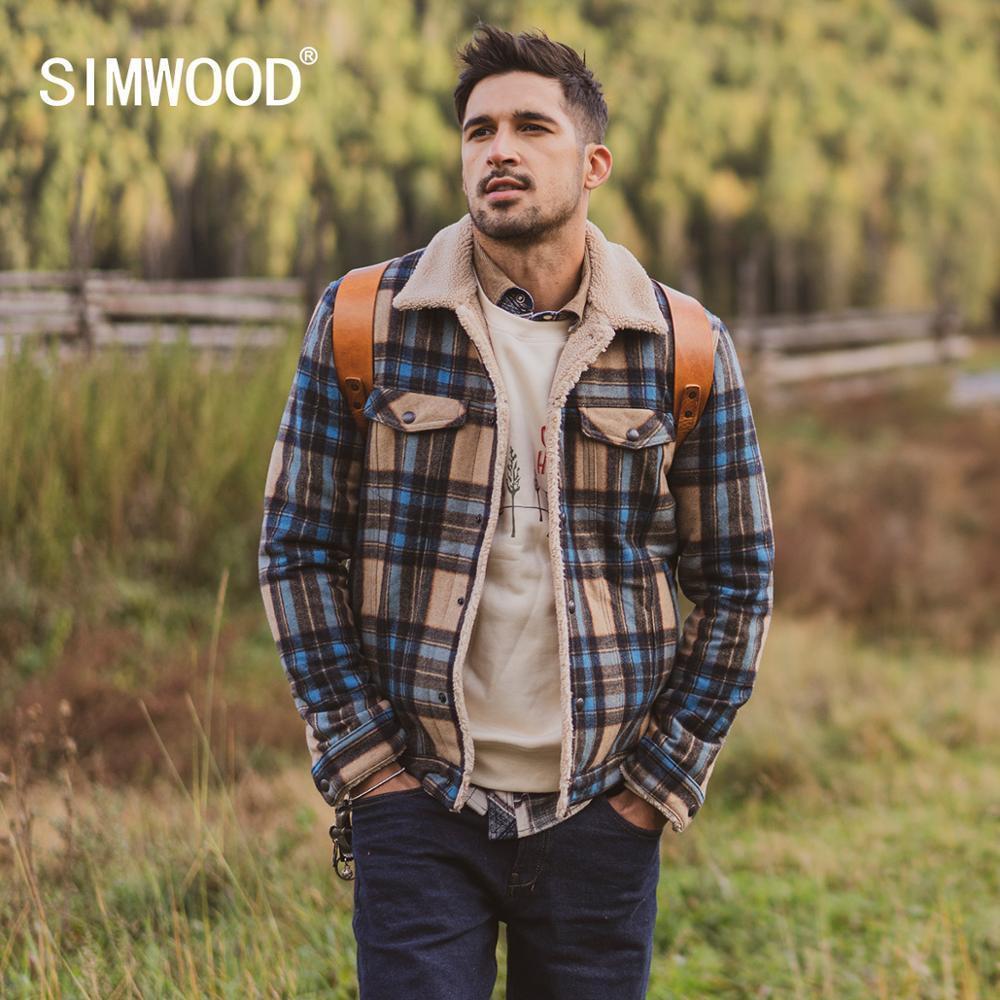 Inverno Simwood New Shearling-aparado Verificado Lã-Blend Jacket Men Moda Lã Quente Inner Inner Plus Size Casacos Si980766 201120