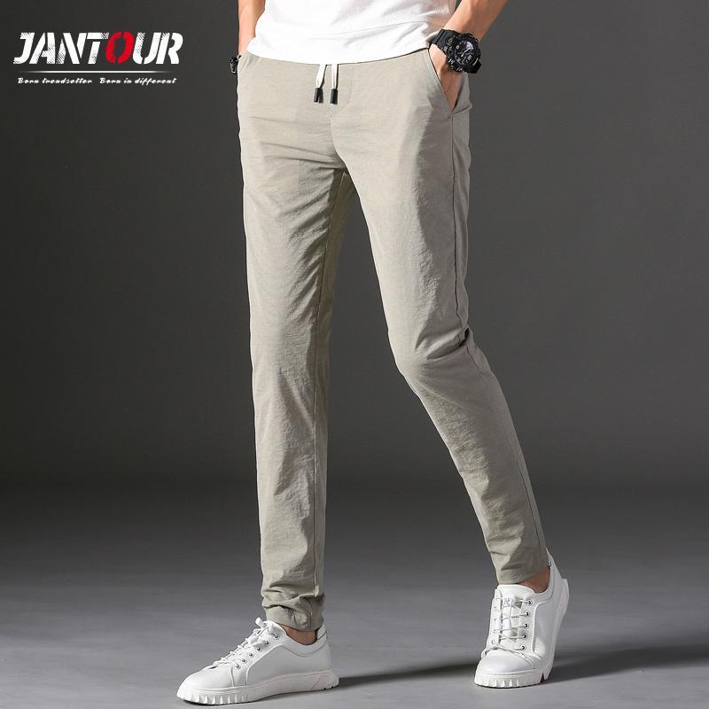 Бренды Мужские брюки 2020 Новый дизайн вскользь HOMBRES Pantalones Хлопок Тонкий Pant мужские брюки Мода Бизнес Tie штаны Человек 28-38 Y1114