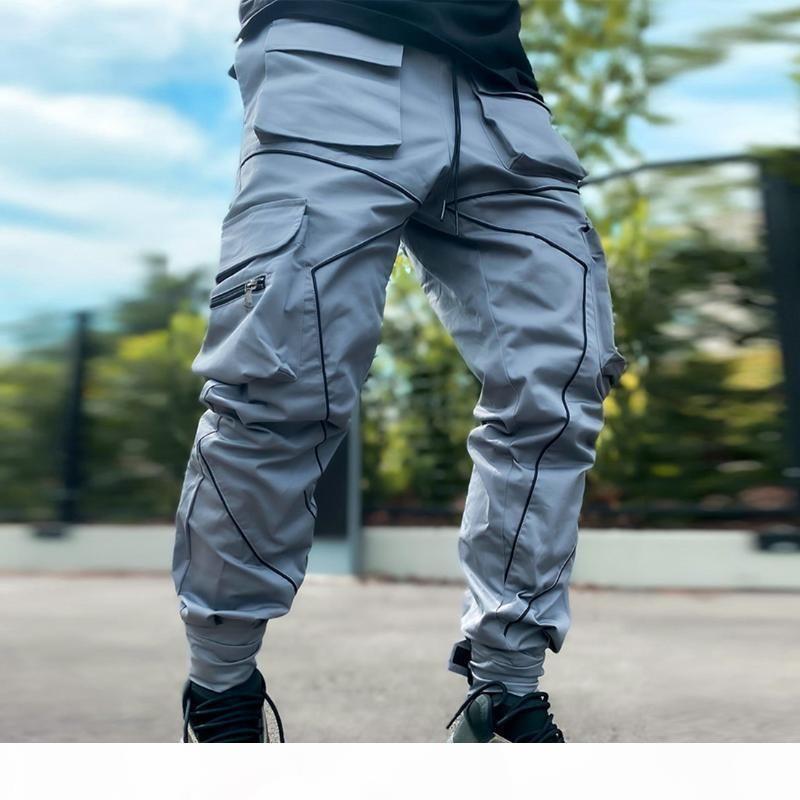 Mens hip-hop jogging cargo pantaloni moda mens jogger riflettente lucido tuta casual uomo abbigliamento uomo sportswear pantaloni a matita luminosa