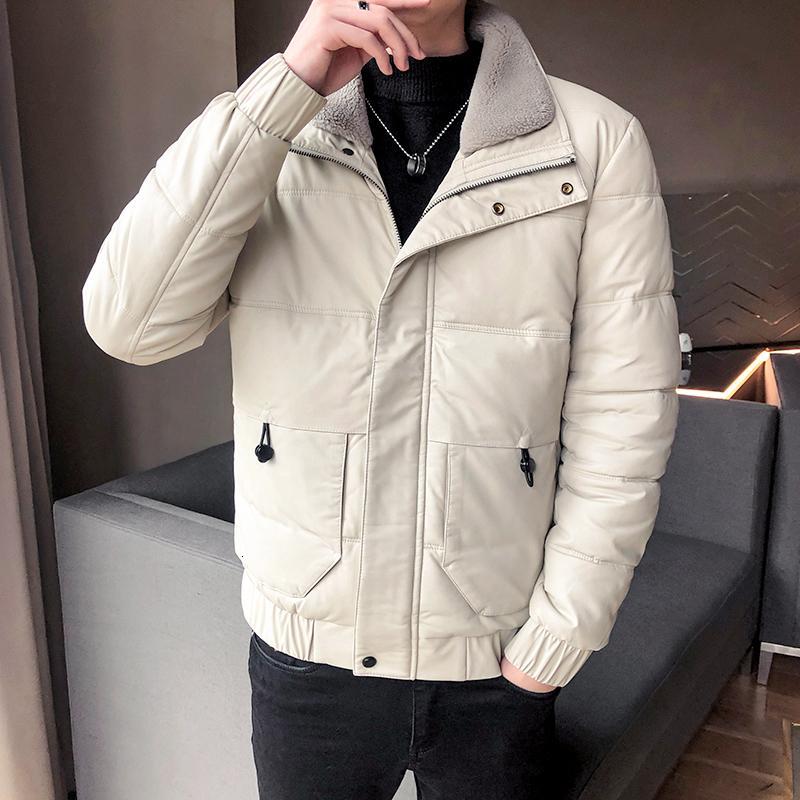 Hiver chaud motocyclette manteau de cuir de fourrure de lapin col blanc épais revers de canard Veste pour Homme Parka Men