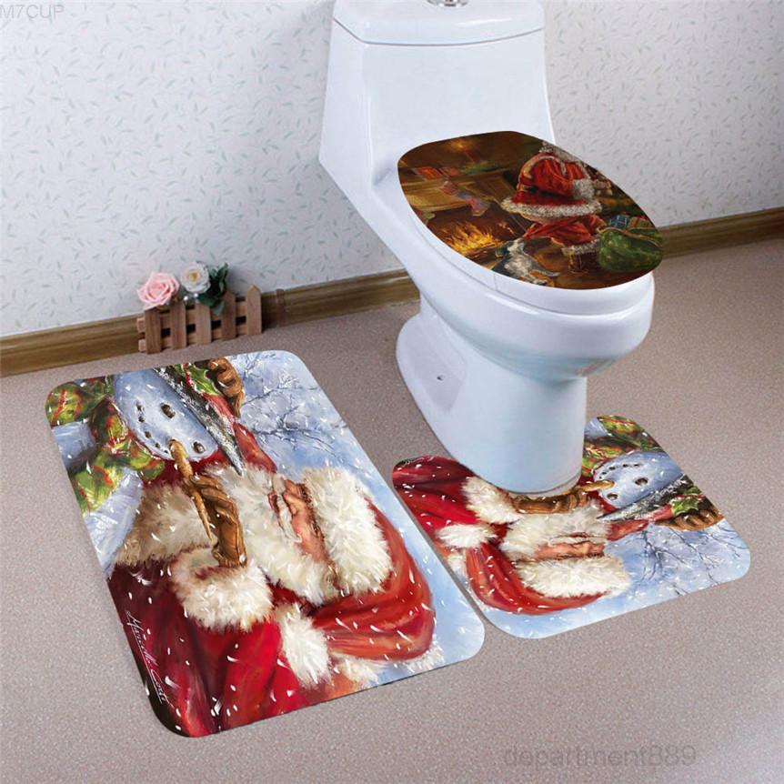 Eco amigável 3 pcs natal banheiro antiderrapante pedestal tapete tampa tampa casca de banheiro + esteira de banho conjunto de gota 71016