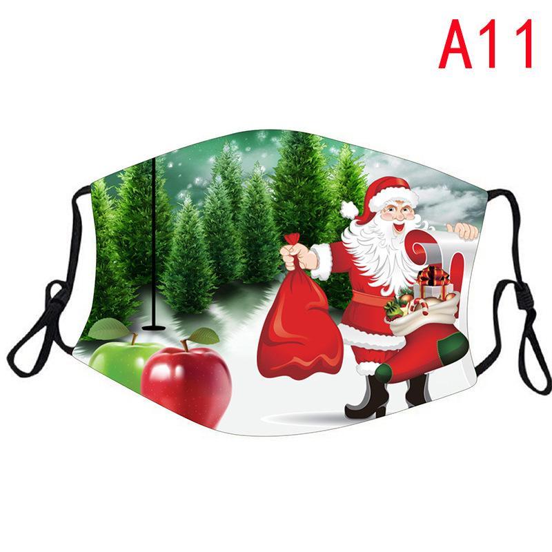 Maskeler ile Moda Noel Maskeler Geyik Baskılı Noel Yüz Maskeleri Anti Toz kar tanesi Noel Ağız Kapak Yıkanabilir Yeniden kullanılabilir NWA2268 Filtreler