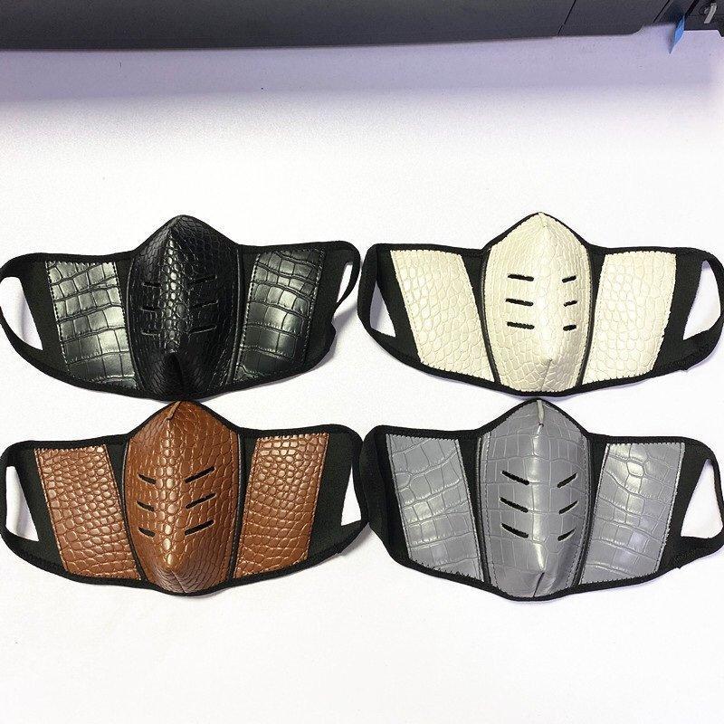 Moda 2020 Diseñador partido máscaras de cuero máscara anti-polvo de la mascarilla de tela lavable máscara facial cubierta reutilizable