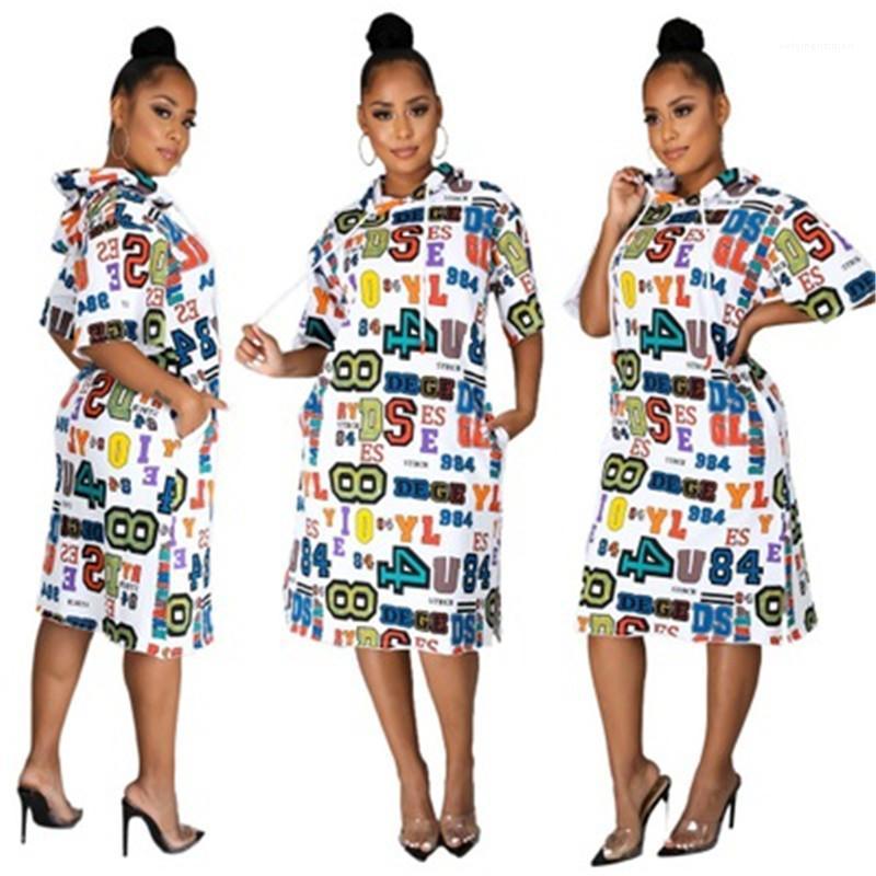 Elbise Moda Batı Trend Seksi Uzun Kol Kapşonlu Kısa etekler Tasarımcı Sonbahar Kadın Gevşek Yüksek Bel Günlük Elbise Bayanlar Harf Desen