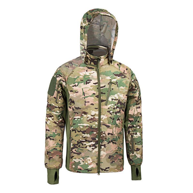 dos homens Tactical Jacket Waterproof Men Quente Exército Windbreaker Bomber Jacket Brasão camuflagem com capuz