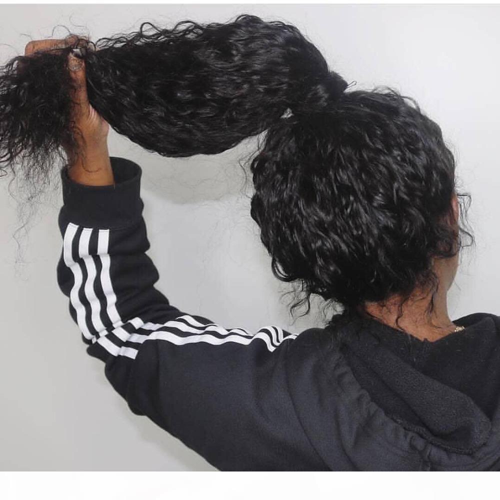 Kadınlar için Su Dalga İnsan Saç Tam Dantel Peruk Öncesi Mızraplı Doğal Satine ile Bebek Saç Brezilyalı Remy Saç Peruk
