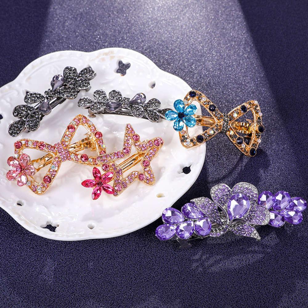 Top de la moda coreana Diamante Diamante Primavera grande Horizontal detrás de la cabeza Horquilla Horsetail Tocado