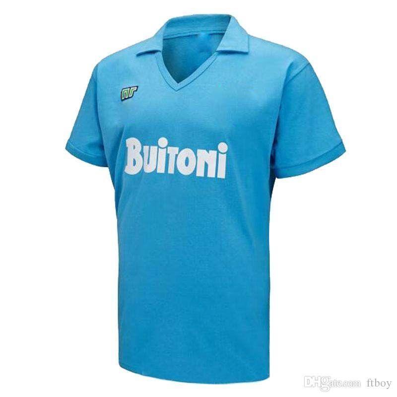 Retro Clássico 1987 1988 Napoli Soccer Jersey 87/88 Maradona Futebol Esportes Camisa S-2XL