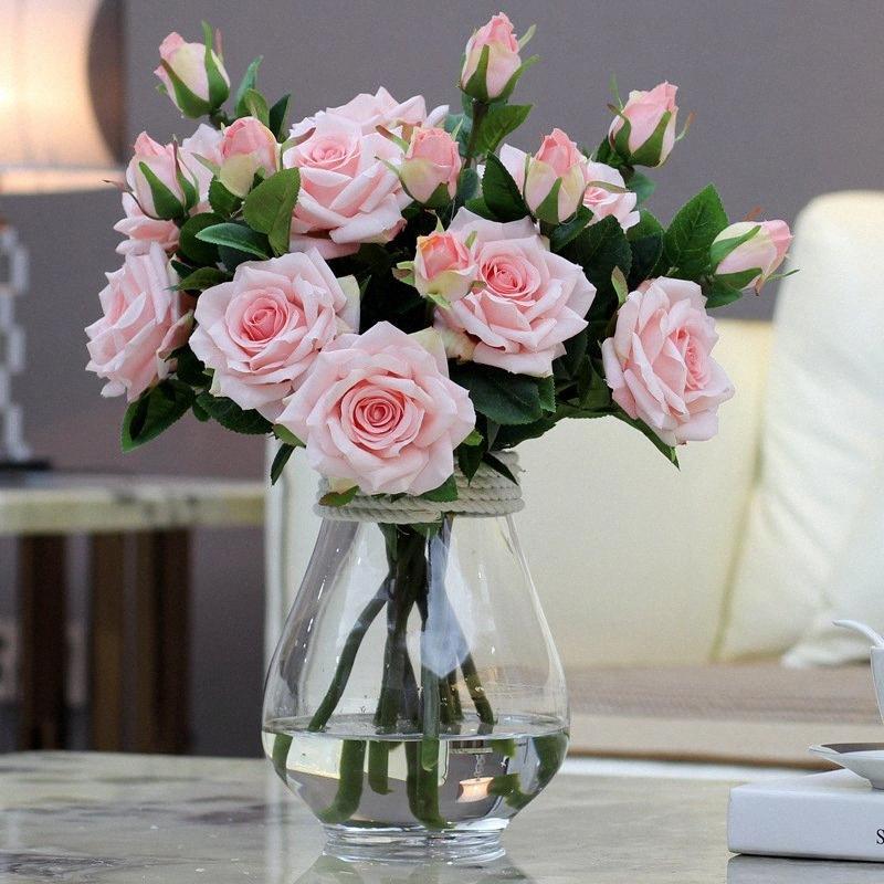2 Teste / bouquet elegante fiori artificiali vero tocco Vivid rose finte fiori di seta sposa Wedding decorazione domestica A1155 ZKzU #