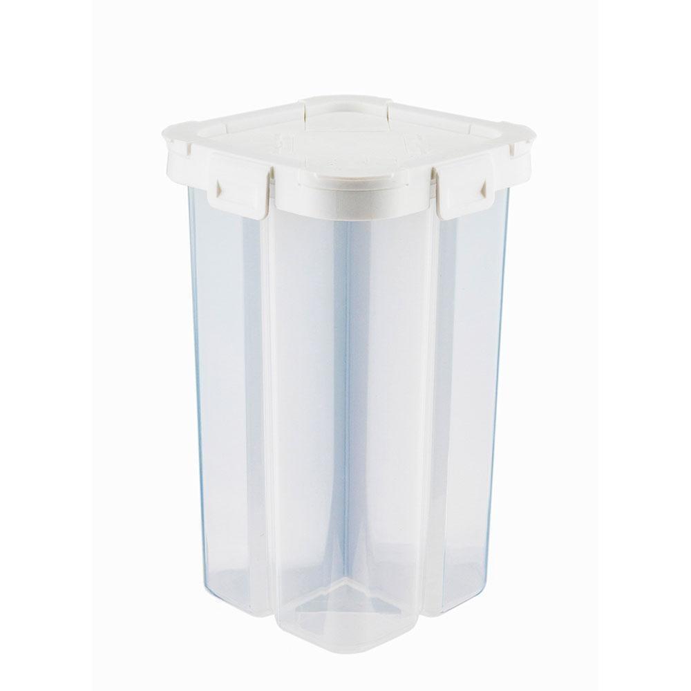 Crearive Четыре отсека Cereal Контейнер для хранения Герметичный сухой корм Пластиковый ящик для хранения для Snack Нут Лапша 2300ml Gray White