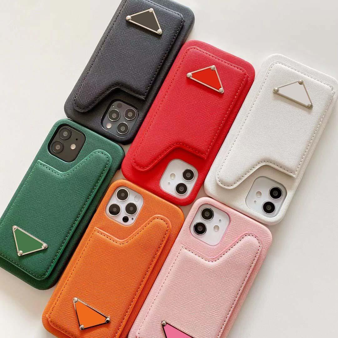 Moda Kart Cep Telefonu Kılıfları iPhone 12promax Iphon12Pro 12mini 12 11promax 11Pro iPhone 11 Deri Kılıfları Ters Üçgen