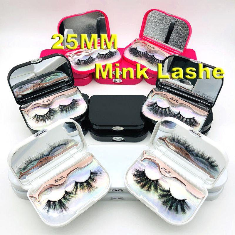 25 mm 5D Mink Wimpern Dramatische Lange Mink Lashes Makeup Vollbandwimpern 25mm falsche Wimpern 3D Mink Wimpern Wiederverwendbare