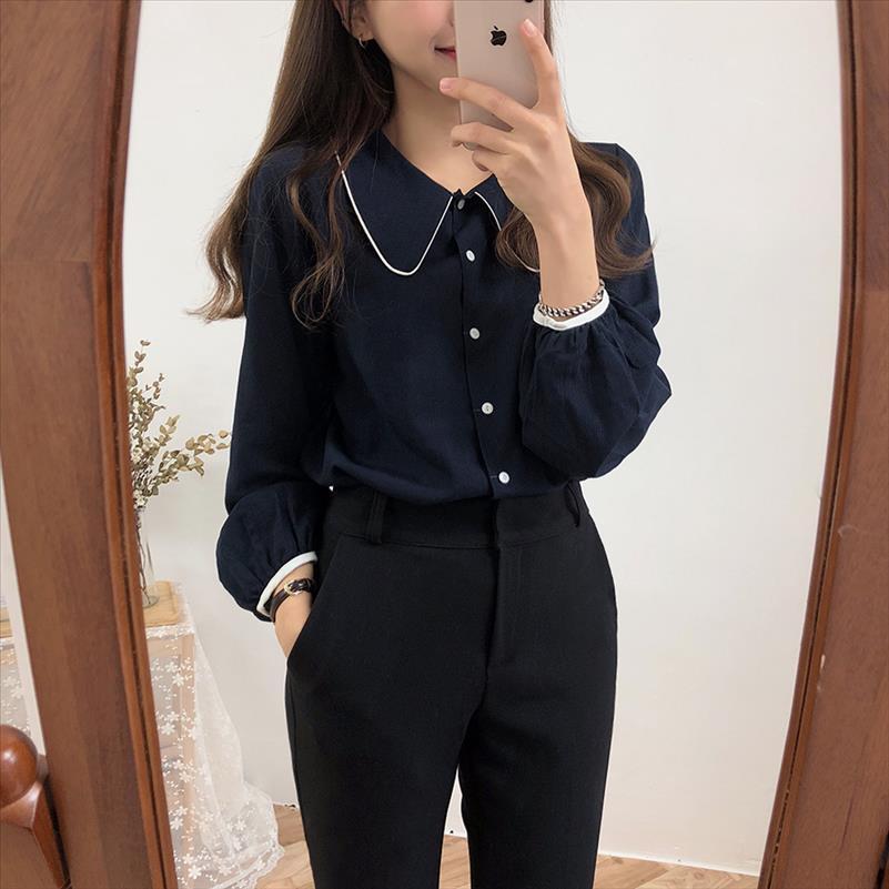 S XL shirt oversize printemps femme Tops bleu Casual femmes manches longues en coton velours filles Chemisier Plus Size femmes Blouses femme