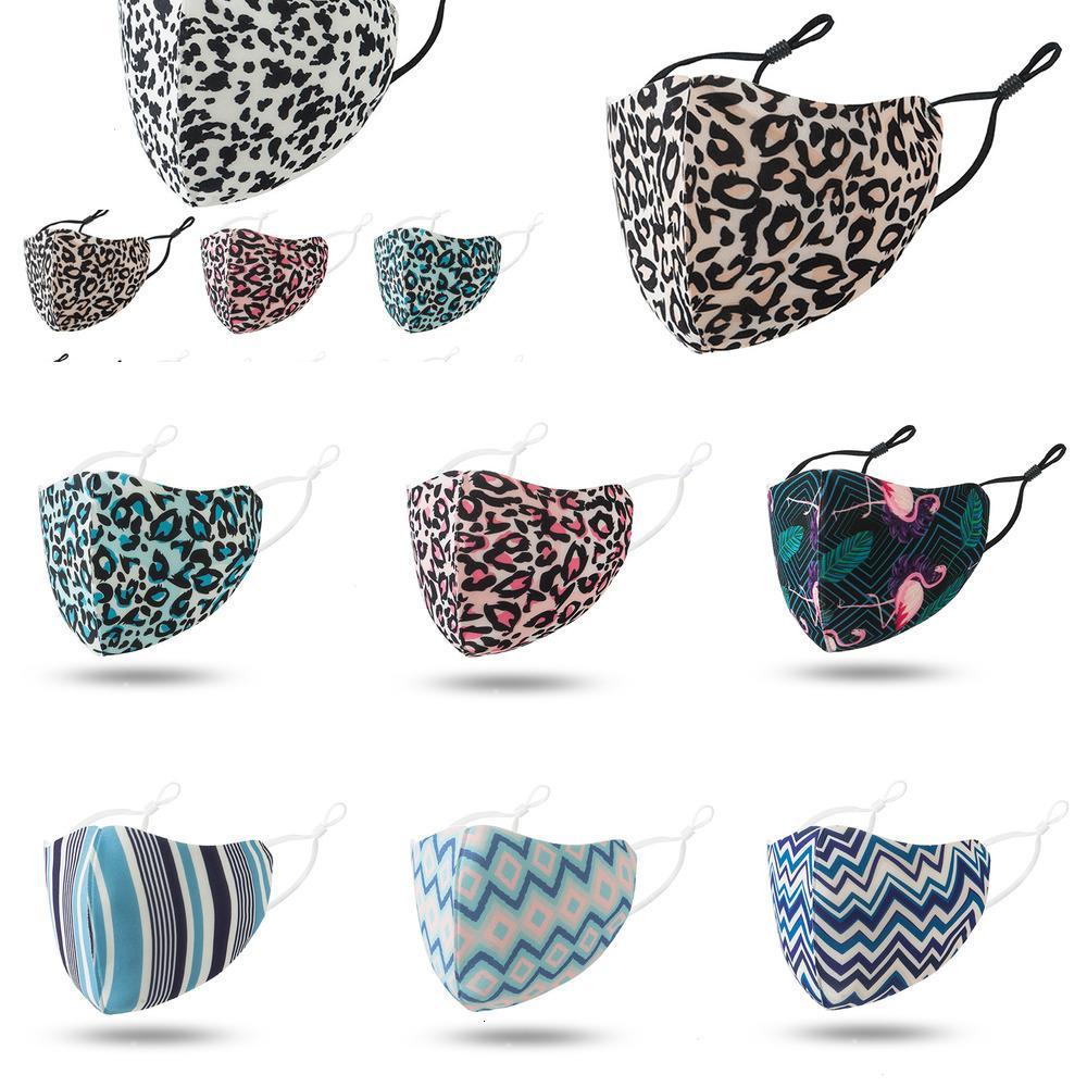 U7AWKU designer adult Leopard print face masks women dustproof smog-proof breathable washable adjustable ear-buckle mask N