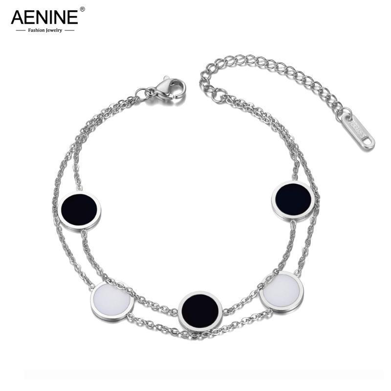 AENINE MODE Double couche en acier inoxydable Blanc Black Acrylique Charm Bracelets pour Femme Bohême Chain Link Bracelet AB20031