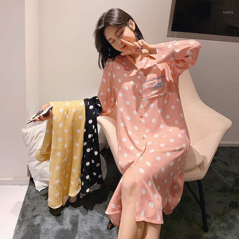 20 Yıl Bahar kadın Baskılı Gecelik Uzun Kollu Hırka Ev Günlük Kırmızı Pijama Pembe Uyku Giyim Kadınlar1